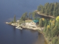 Brown Bear Lake outpost cabin from air